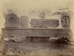 Fragments of carved railings from a stupa at Beshnagar, Bhopal State